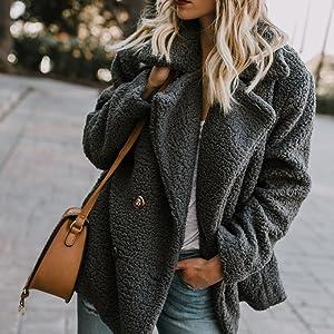 Dokotoo Womens Fleece Open Front Coat Pockets Outerwear
