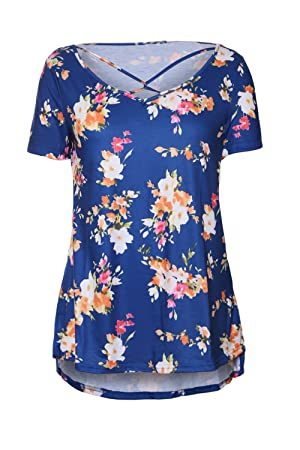 Dokotoo Womens Casual Summer Floral Print Crisscross Cotton Blouses