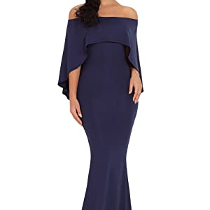 9f4ed32355b8 Dokotoo Womens Off Shoulder Ruffles Sleeve Gown Mermaid Evening ...