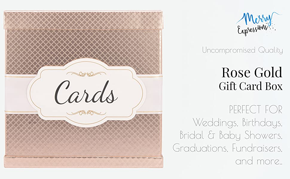 Rose Gold Gift Card Box For Weddings, Birthdays, Bridal & Baby Showers, Graduations and Fundraisers