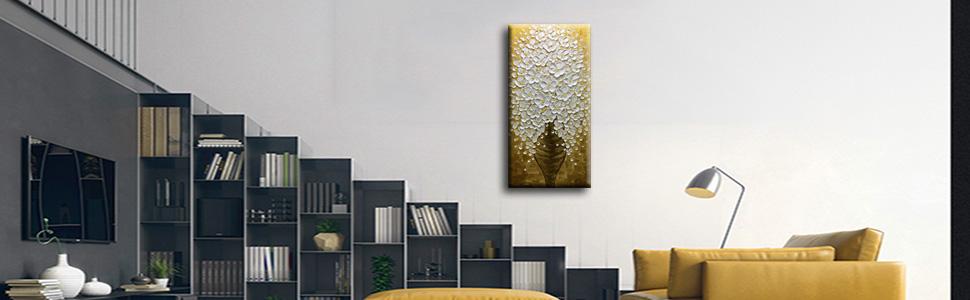 Amazon.com: Desihum-Abstract Pintura al óleo Pintada a Mano ...