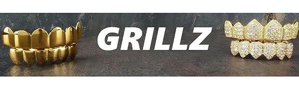 GRILLZ GRILLS DIAMOND GOLD SILVER TEETH RAP HIP HOP