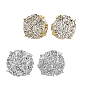 gold silver diamond earring earrings stud studs bling hip hop ice rap