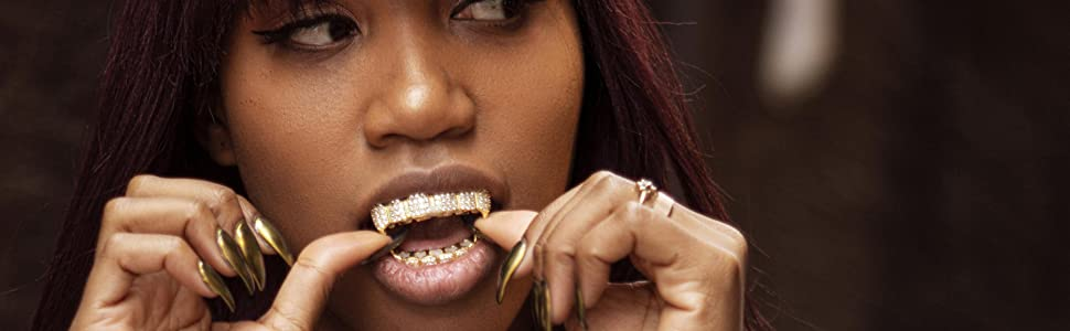 Grillz Grills Icey Iced Out Gold Silver Diamonds Gangster Rapper Hip Hop Bling