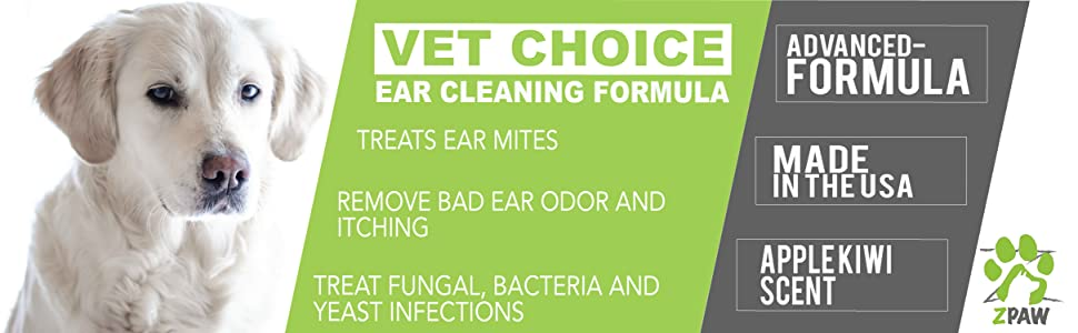Ear cleaner for dogs remove bad ear odor itching treat fungal bacterial yeast infections