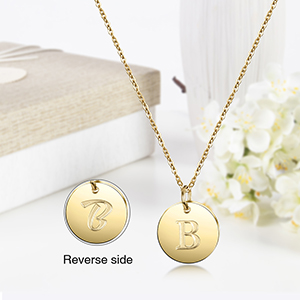 afa4891c6 Brand New Women Initial Necklace. Double Side Engraved Adjustable  Personalized Letter Pendant.