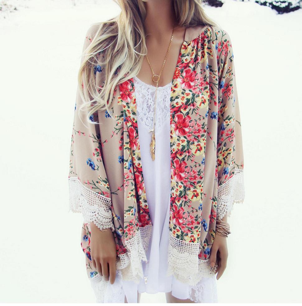 Relipop Women's Sheer Chiffon Blouse Loose Tops Kimono Floral ...