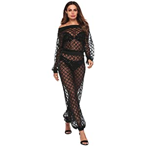 70f4abc9 Amazon.com: IyMoo Womens 2 Piece Sequins Outfits-Off Shoulder See ...