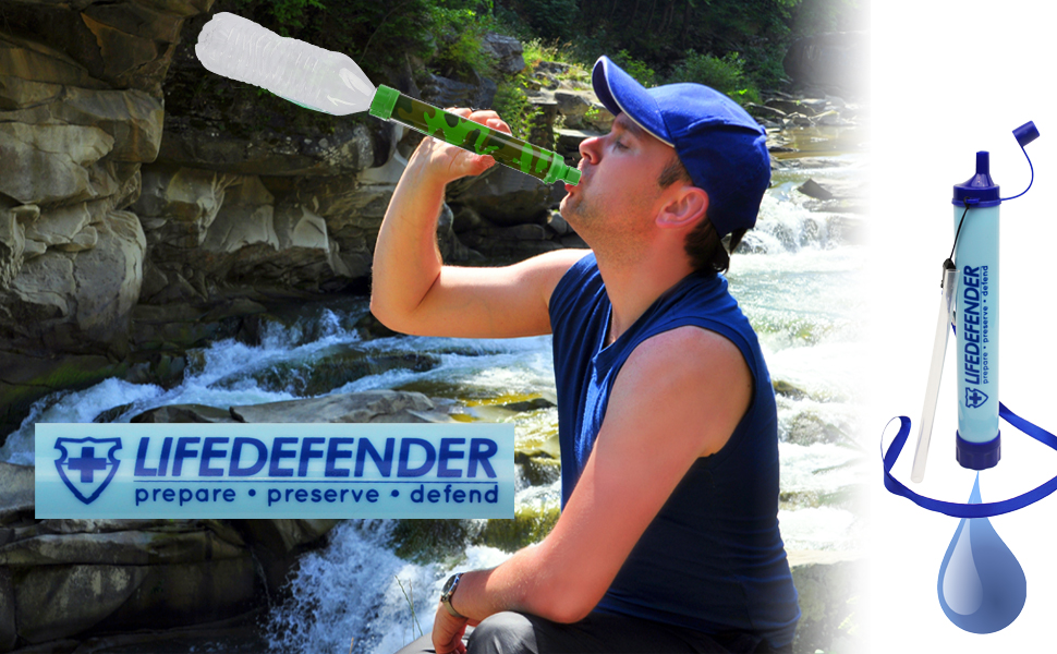 Life Defender Water Filter Straw - Water Straws - Portable Water Filters for Camping, Hiking or Survival Bug Out Bag - World's Most Advanced Water Filtration System