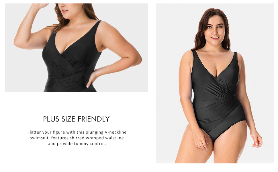 b4459a364583c V-Neck Slimming Swimsuit · Shaping One Piece Swimdress · Low Plunge Neck  Swimsuit · Tummy Control Swimsuit · Crossover front Swimsuit · Modest Plus  Size ...