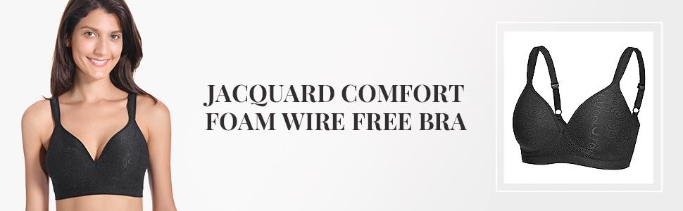 fc73fe85ef DELIMIRA Women s Jacquard Everyday Comfort Seamless Foam Contour ...