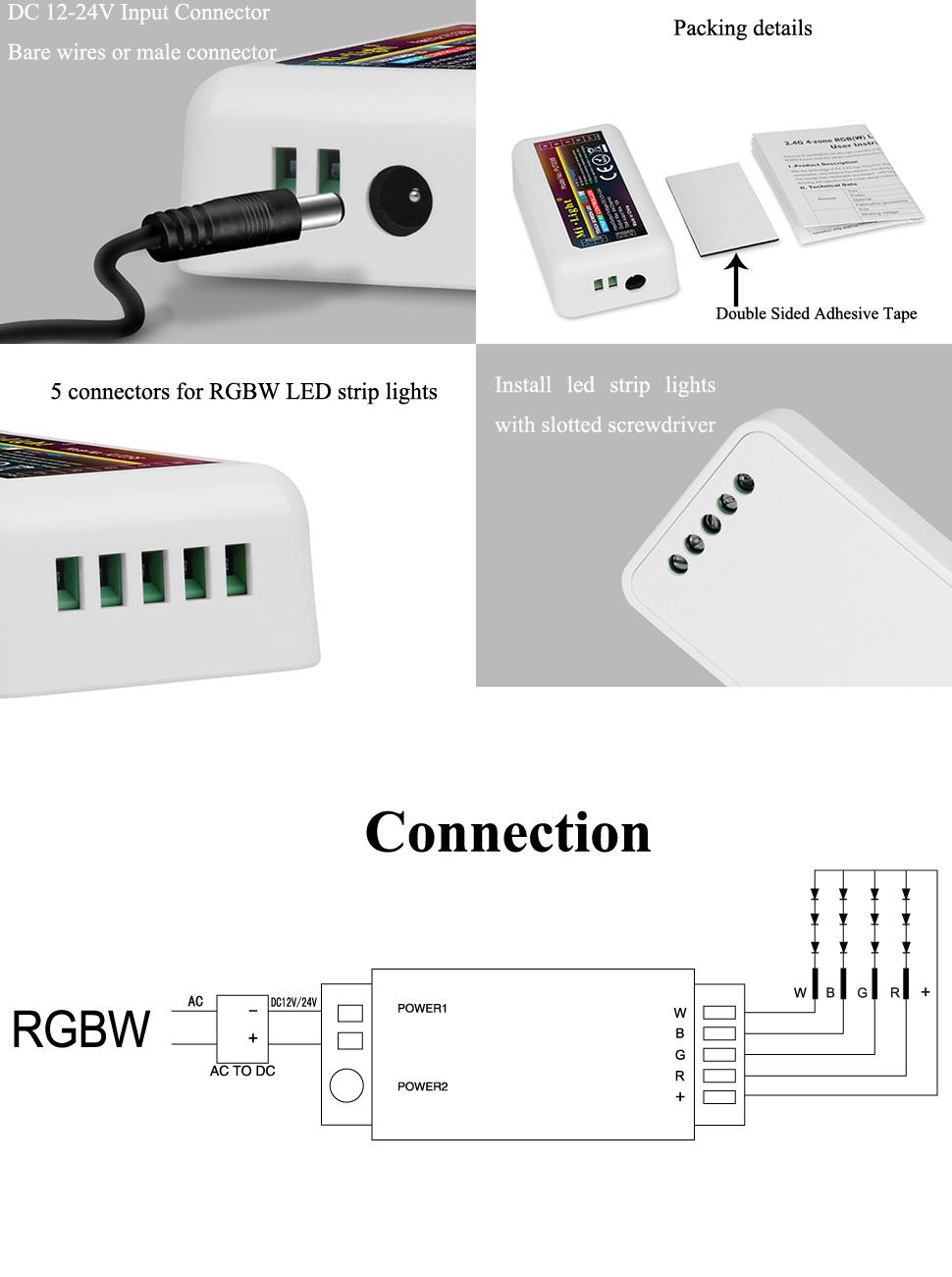 LGIDTECH Mi.Light FUT038 RGBW LED Strip 2.4GHz RF Wireless 4-Zone  on