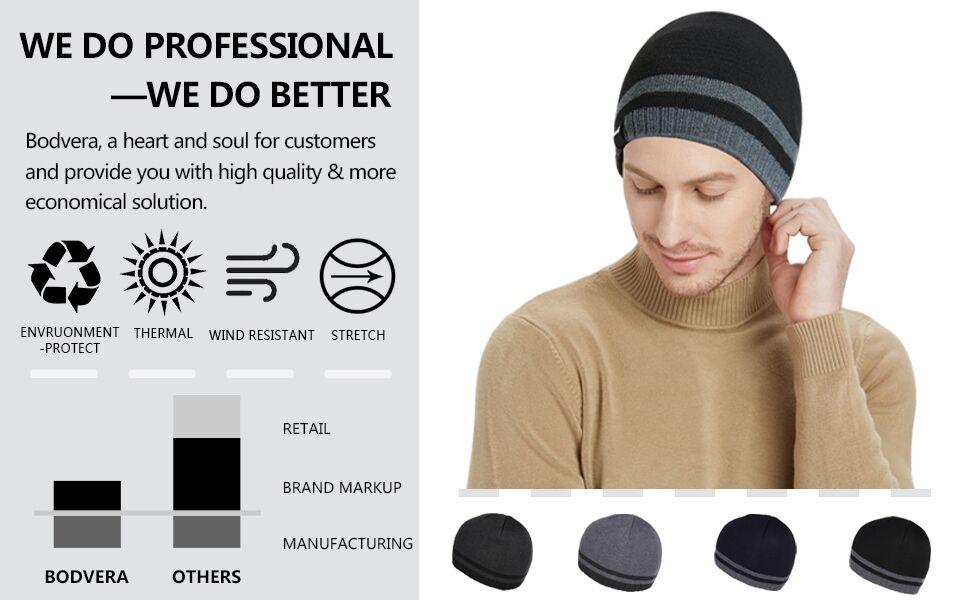 Bodvera Mens Winter Warm Knit Beanie Hats Tactical Fleece Plain Toboggan Ski Skull Cap 3 Colors