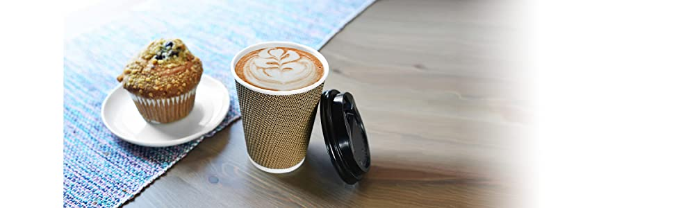 Coffee cup and cake