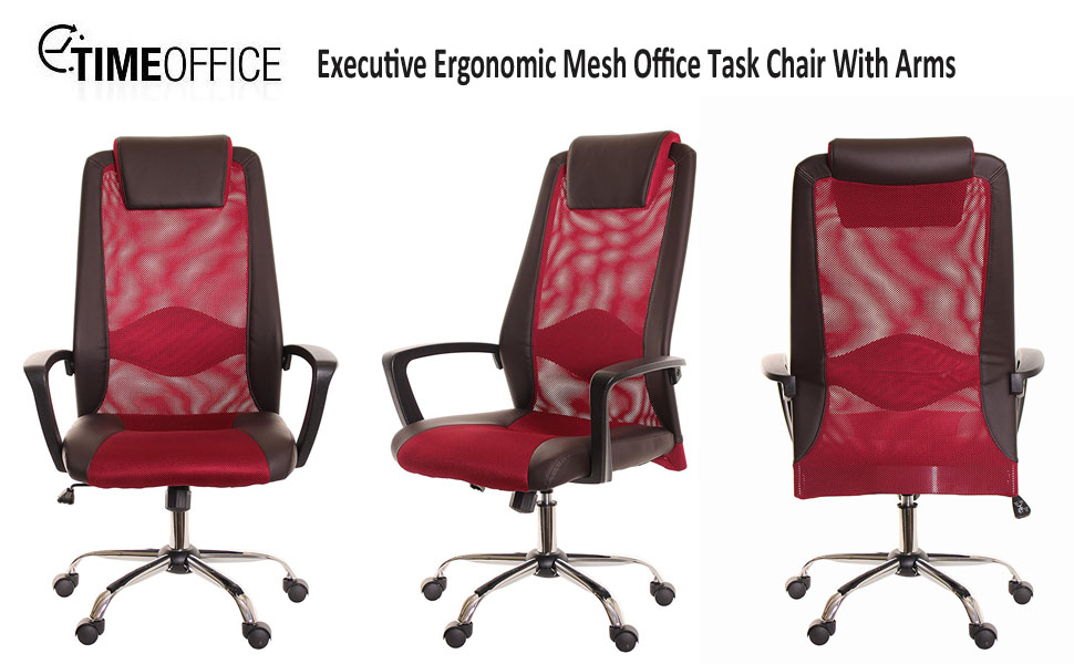 amazon com timeoffice high back leather red mesh office task