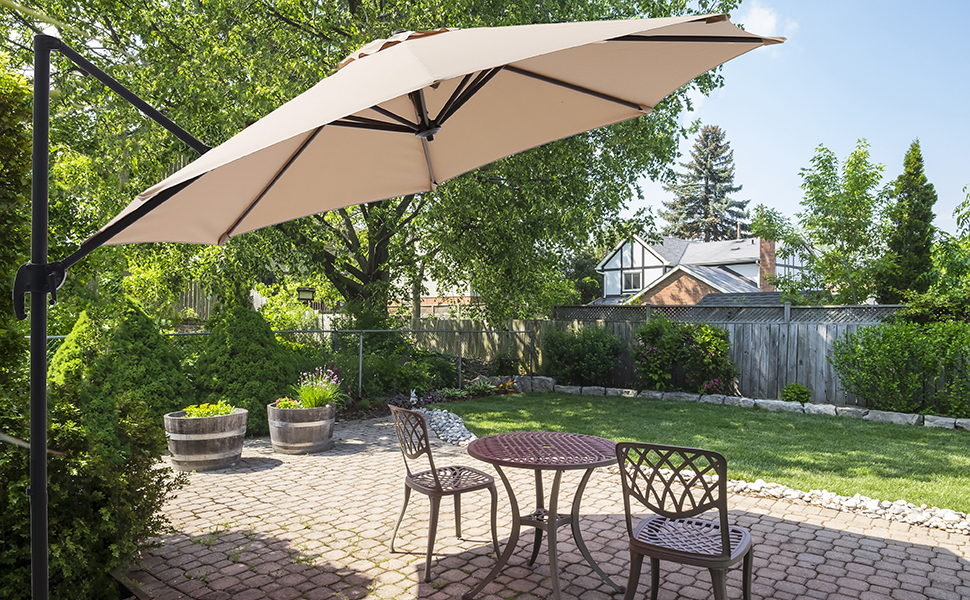 SUPERJARE 10 FT Offset Hanging Umbrella, Outdoor Patio Cantilever with Tilt  Canopy, Crank Lift & 5 Lock Positions, 360° Rotation - Beige
