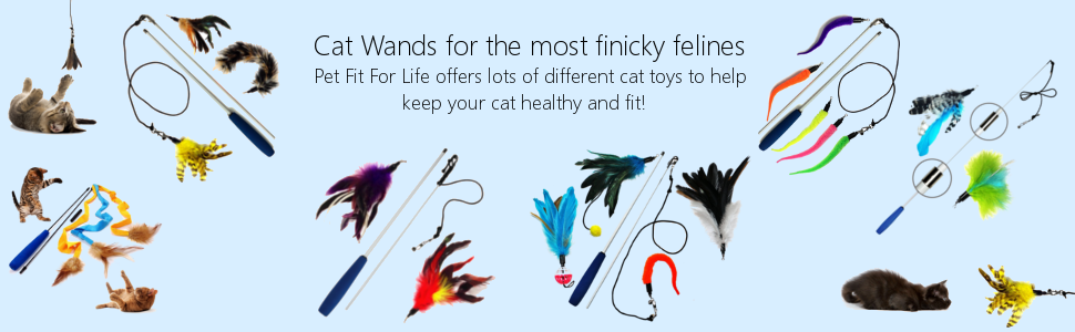 Pet Fit For Life Multi Feather Teaser and Exerciser for Cat and Kitten - Cat Toy Interactive Cat Wand 10