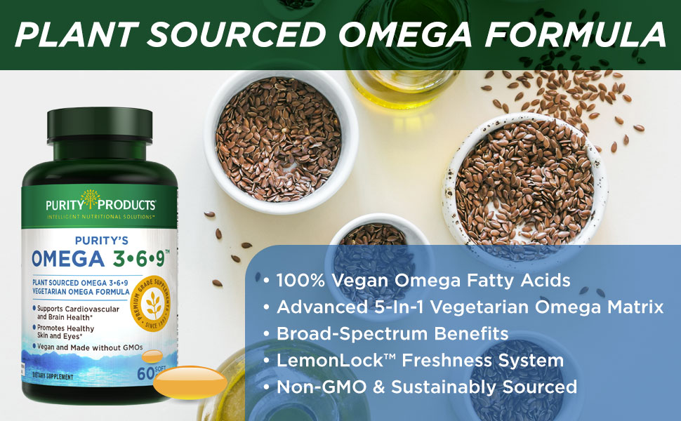 Amazon Com Omega 3 6 9 Vegan Vegetarian Omega Formula 5 In 1 Essential Fatty Acid Complex Scientifically Formulated Plant Based Omega 3 6 9 Essential Fatty Acids Efa From Purity Products 180 Caps Health Personal Care