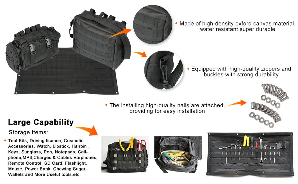 WYYINLI 3pcs Tailgate Bag Storage Case Cover Multi-Function Pockets Assist Kits Fit 2007-2018 Jeep Wrangler Jk Jku Tool Organizer Pockets
