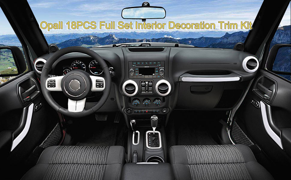 Jeep Wrangler Interior >> Opall 18pcs Full Set Interior Decoration Trim Kit Steering Wheel Center Console Air Outlet Trim Door Handle Cover Inner For Jeep Wrangler Jk Jku