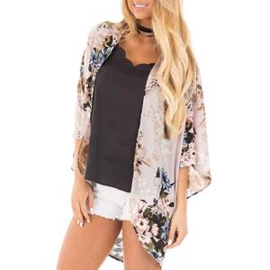 PRETTODAY Womens Floral Print Kimonos Loose Half Sleeve Shawl Chiffon Cardigan Blouses Casual Beach Cover Ups
