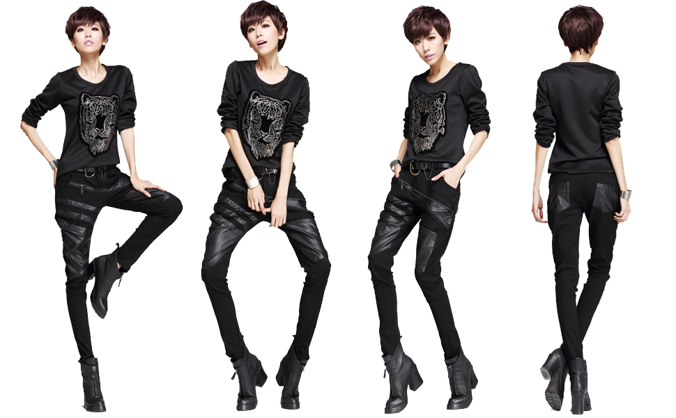 minibee women s patchwork leather personalized trousers punk style