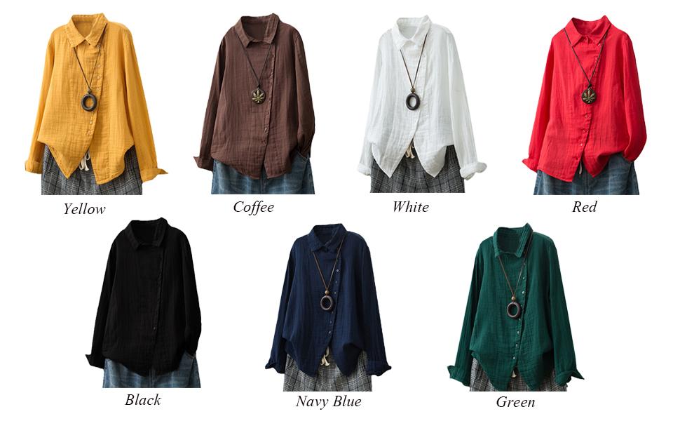b5a87b165e616 Minibee Women s Shirts Long Sleeve Turn-Down Collar Top Button ...