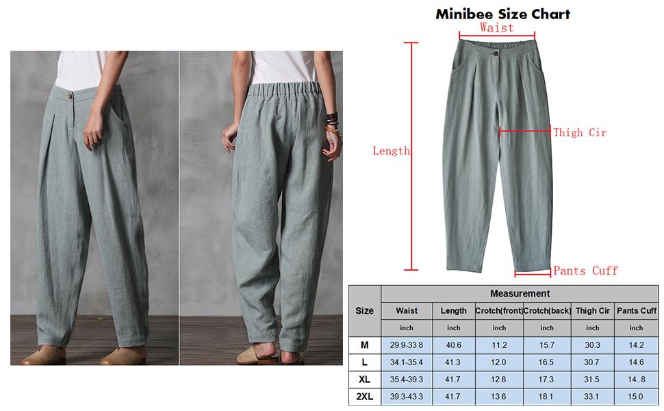 d7405431f794 Minibee Women's Casual Linen Pants Elastic Waist Tapered Pants ...