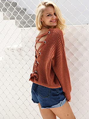 705e9941aaf9 ... V Neck Lace Up Backless Pullover Sweater. This knit top is the perfect  tran-seasonal piece