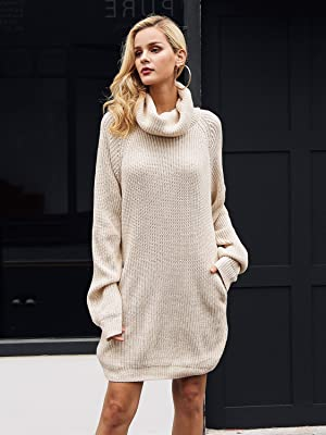 1c7c3358e7e Simplee Apparel Women s Winter Warm Casual Loose Turtleneck Oversized  Pullover Sweater Short Mini Dress with Pockets