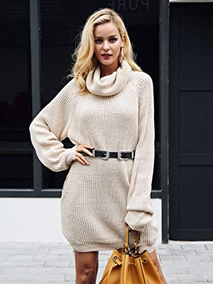 db8014705e4 ... Warm Casual Loose Turtleneck Oversized Pullover Sweater Short Mini Dress  with Pockets. Thick knit material with good stretch