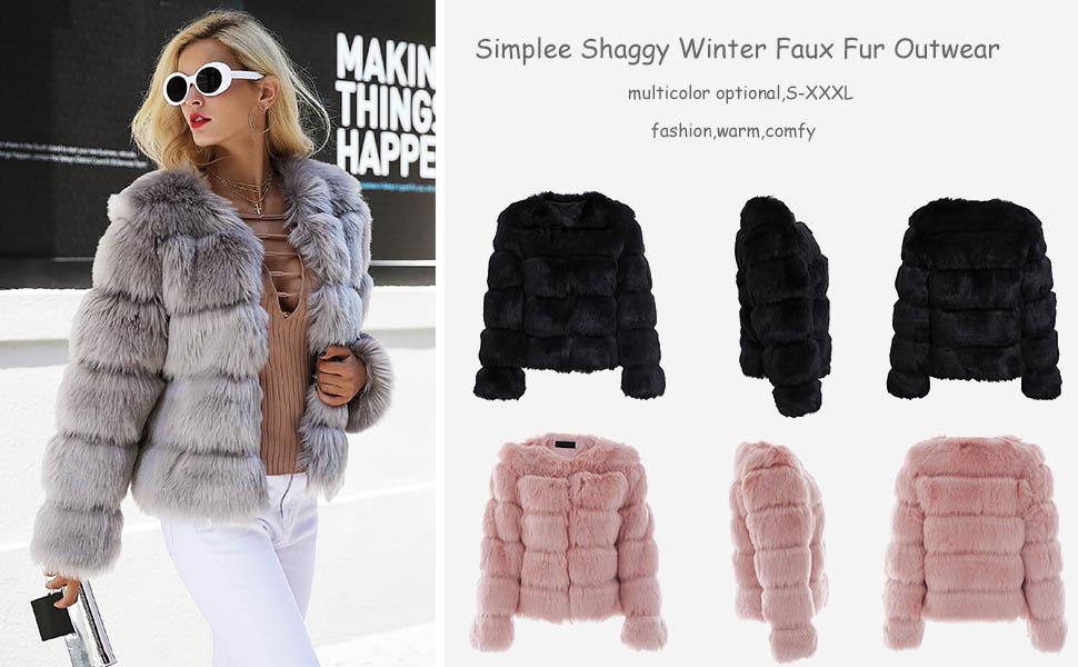 Womens Luxury Fur Furry Coat Slim Fit Warm Jacket Short Parkas Overcoats Fashion