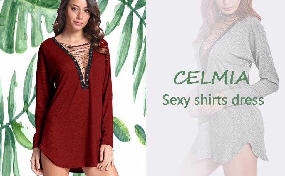 8ef80e8bca372 Celmia Women Lace Up Tops Sexy Long Sleeve Deep V Mini Shirt Dress ...