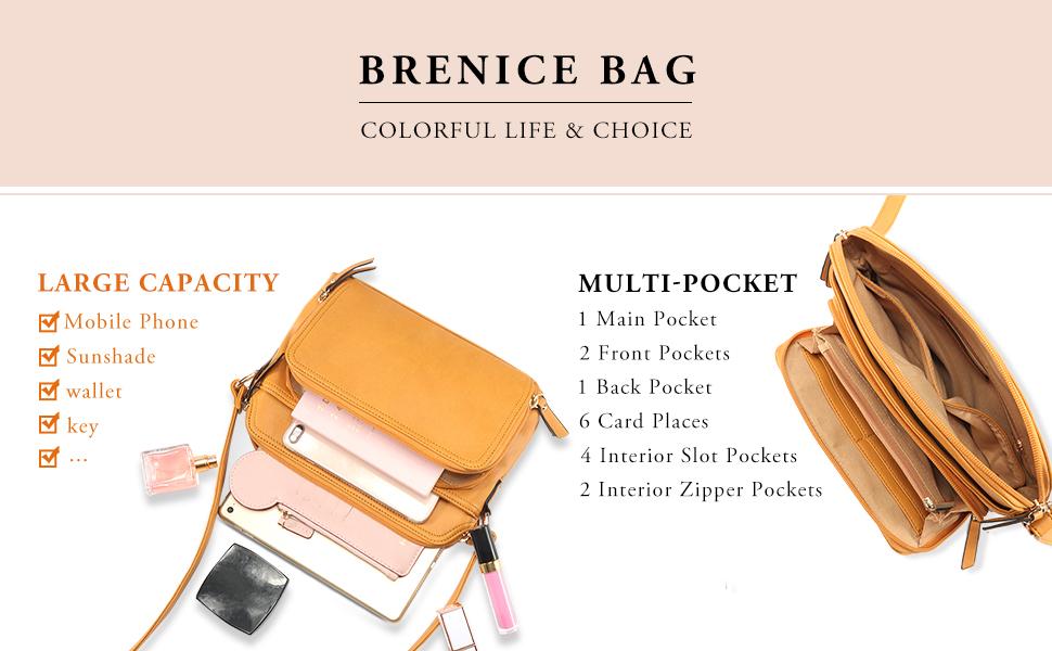 5bf2c14f12 Amazon.com  Brenice Women Solid Multi-pockets Casual PU Leather ...