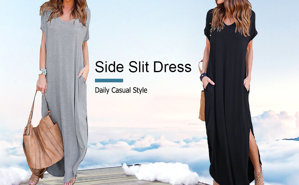 Celmia Womens Tshirt Long Dress Side Slit Maxi Dresses Casual Short Sleeve with Pockets