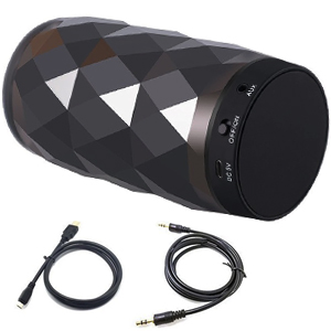 There has a bluetooth speaker,a usb charging cable,a AUX Line-in cable