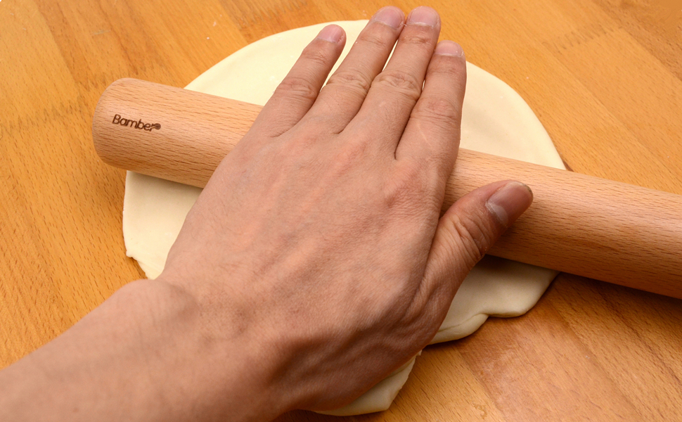 4-4//5 Inch by 4-1//3 Inch Bamber Wood Rolling Pin for Baking Wooden Pastry Pizza Dough Roller