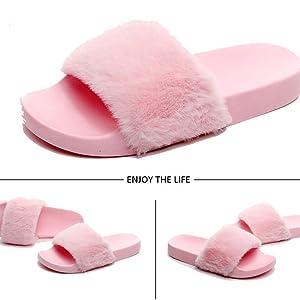 amazon com havina women s faux fur slippers soft slide flat flip