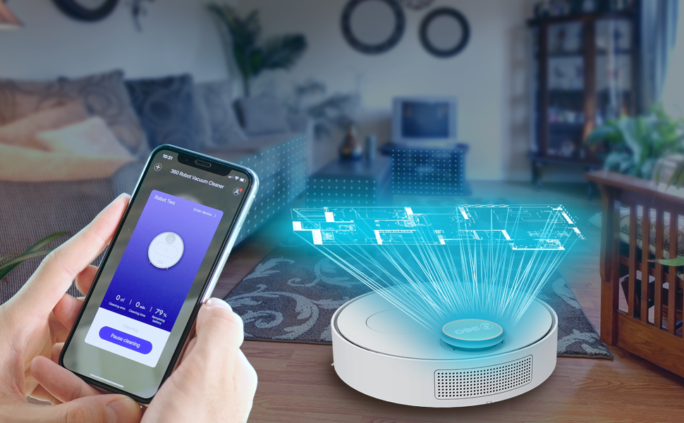 360 Robot Vacuum and Mop Cleaner, Works with Alexa, Intelligent Cleaning  with 1800Pa Super Power Suction, Laser Navigating, Multi-Map Management, Up