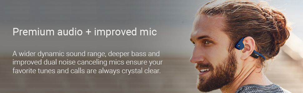 Man wearing Air wireless headphones for all-day battery life  and noise-canceling mics