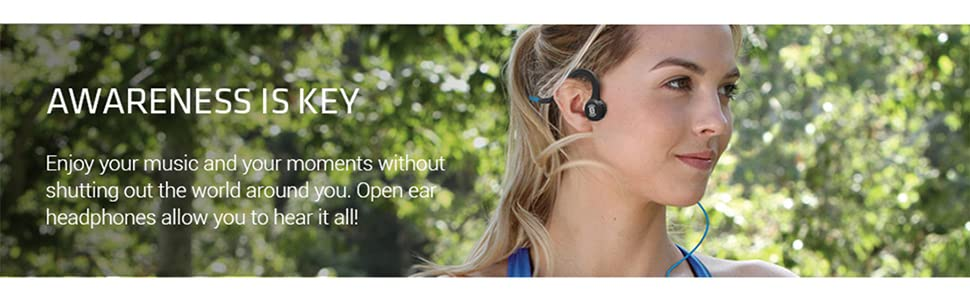Woman wearing Sportz Titanium with mic wired open ear headphones for improved situational awareness