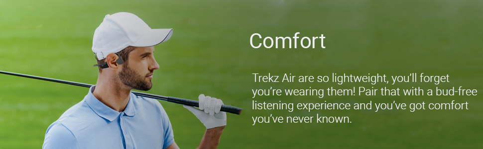 Man wearing flexible, comfortable AfterShokz Air wireless headphones for bud & pain-free listening