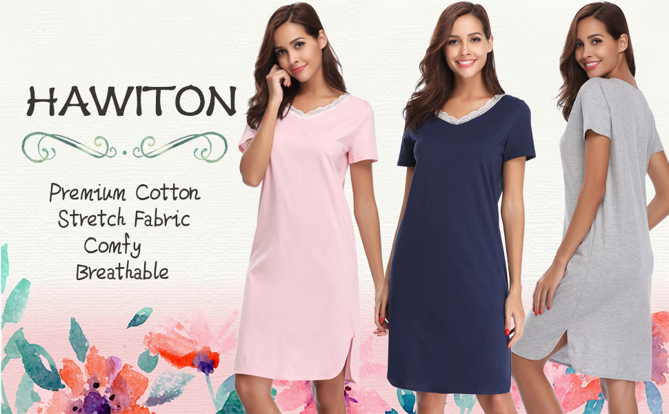 08f5913618 Hawiton Women s Lace V Neck Nightdress Loose Fit Sleep Shirt Short ...