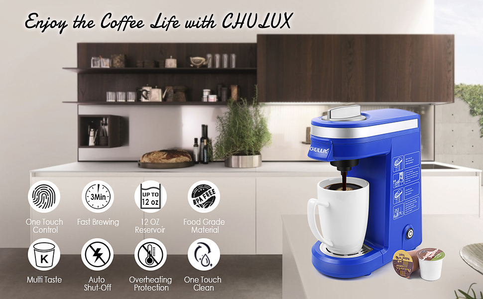 Coffee Maker Machine for K-Cup,Single Cup Pod Coffee Brewer with Quick Brew Technology,Blue
