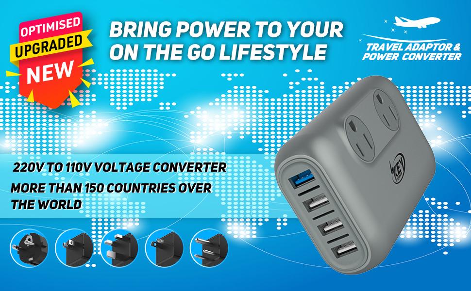Voltage converter for hair straightener 220v/240v to 110v/120v