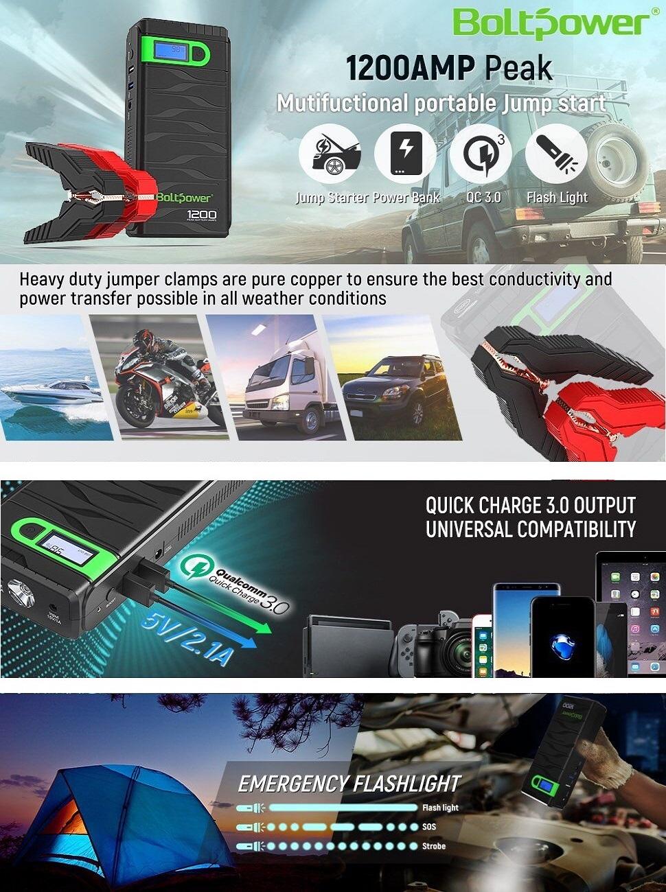 Amazon Com Bolt Power N02 1200 Amp Peak 12 Volt Car
