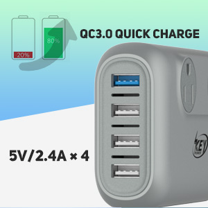 Quick Charge 3.0 USB charger for Galaxy S9 / S8 / S7, Note 5 / 4, Nexus 6 and HTC, Apple iPhone XR