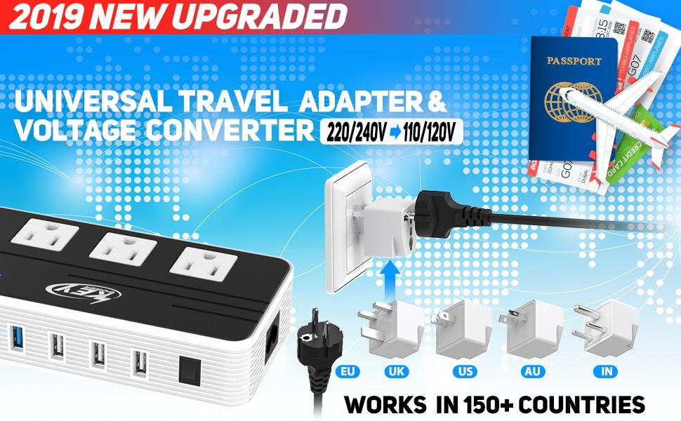 Convertidor de voltaje de 220 V a 110 V y adaptador de viaje internacional