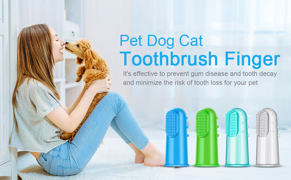 Pet Dog Cat Toothbrush Finger Soft Silicone Colorful Pet Finger Toothbrush for Puppy Doggy Small Dog