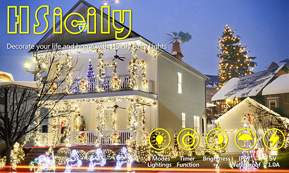 amazon com hsicily fairy lights plug in 8 modes 33ft 100 led rh amazon com